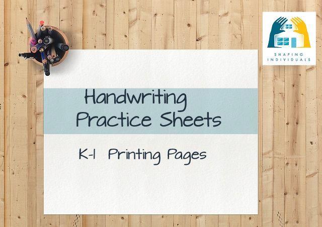 Manuscript K-1 Handwriting Practice Sheets from www.design-your-homeschool.com