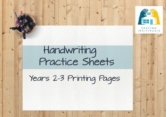 Manuscript Years 2-3 Handwriting Practice Sheets from www.design-your-homeschool.com