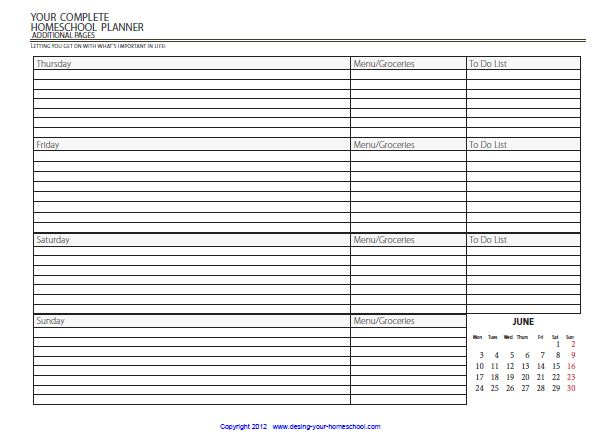 of the Homeschooling forms to create your own unique planner. Print ...