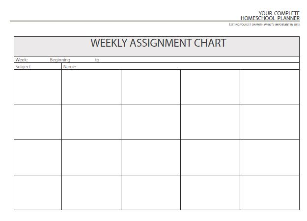 weekly assignment planner - Template