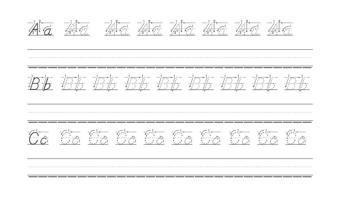 D'Nealian Preschool Handwriting Practice Pages