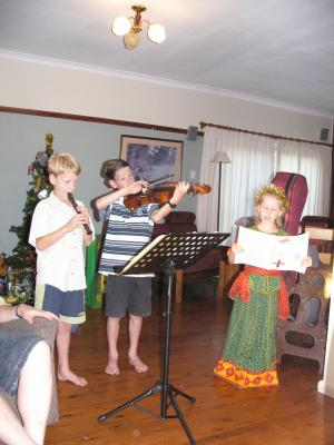Singing a carol