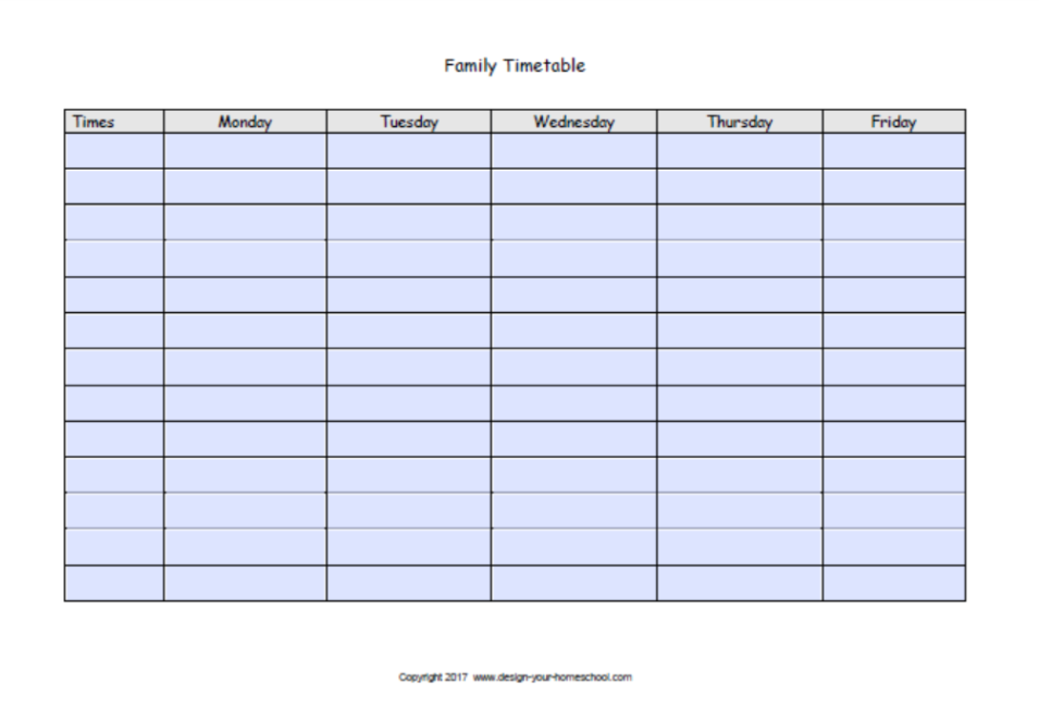 editable homeschool schedule page 2