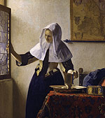 young woman with a water pitcher, vermeer