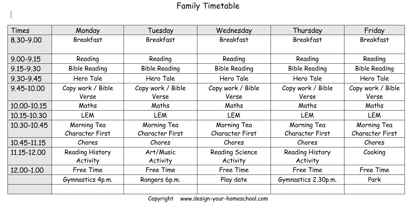 steps to create your own homeschool schedule