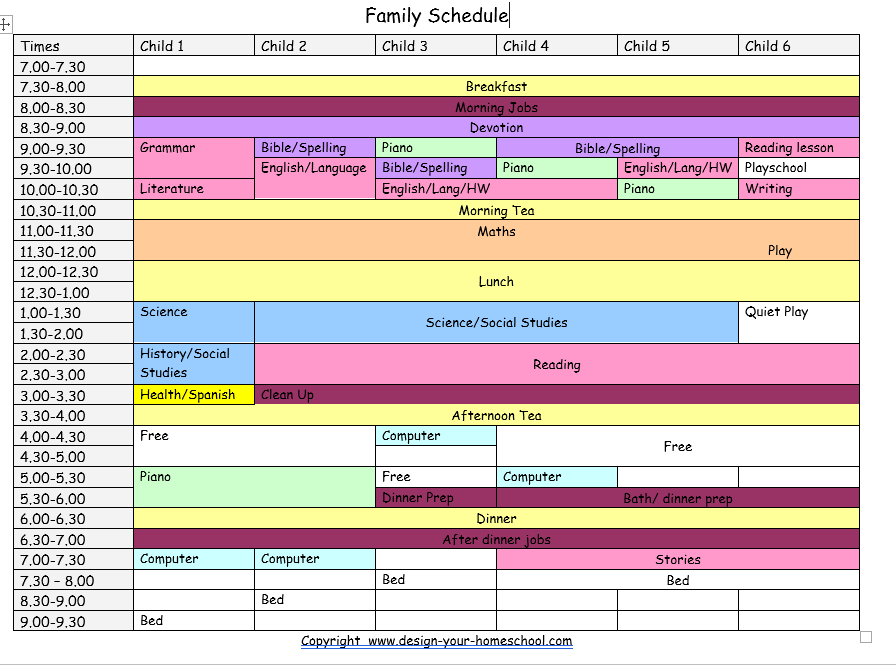 sample homeschool schedule our homeschool pre k daily schedule sample weekly schedule. Black Bedroom Furniture Sets. Home Design Ideas