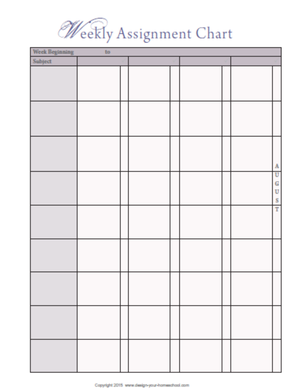 Weekly Assignment checkllist for keep on track homeschool planner