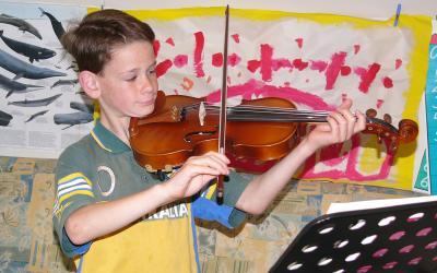 Playing my violin