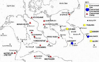 Blue is Extermination Camp,  Red is concentration camp, Yellow is Extermination camp.