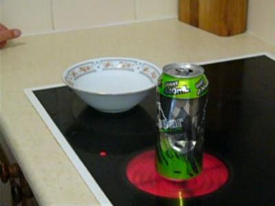 The can on the hot plate