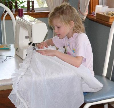 This is me sewing the butterfly net.