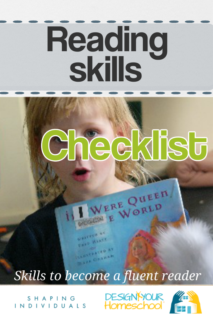 Homeschool Reading Skills checklist