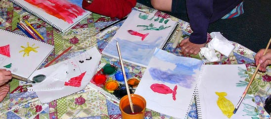 watercolour paintings over crayon pictures