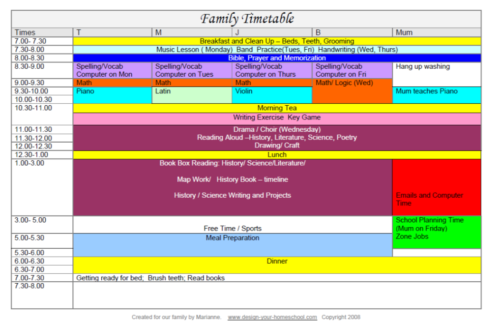 Example of a detailed Family homeschool schedule when managing multiple children.