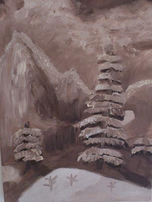 talitha monochromatic oil painting